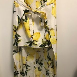 Lemon Print High Low Skirt Boohoo